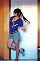 blue American Apparel t-shirt - brown Ray Ban sunglasses - brown Jeckas necklace