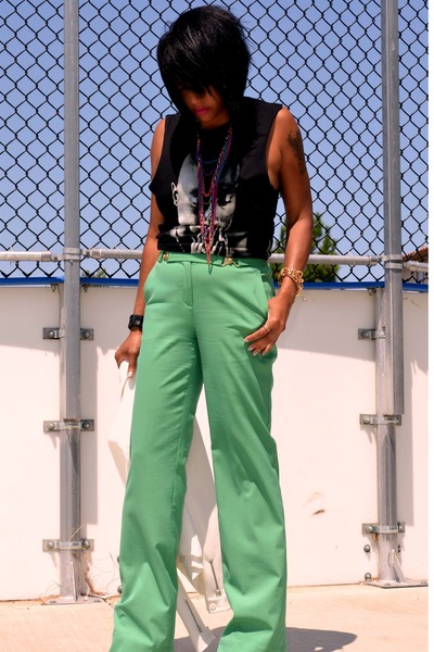 white Zara blazer - black 2 pac Forever 21 t-shirt - green dvf pants