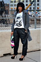 white cali t-shirt - gray laundry coat - black leather pants