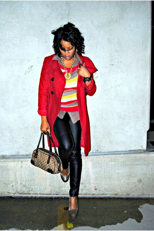red Guess coat - yellow vest Forever 21 sweater