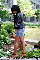 black leather jacket - blue denim Joes Jeans shorts - carrot orange Zara sandals