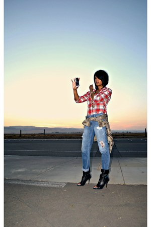 red plaid Denim & Supply shirt - black balenciaga boots