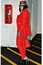 red grane jacket - blue denim H&M shirt - red Zara pants