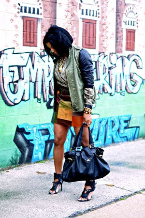 olive green Zara jacket - tawny leather skirt - black Camilla Skovgaard sandals