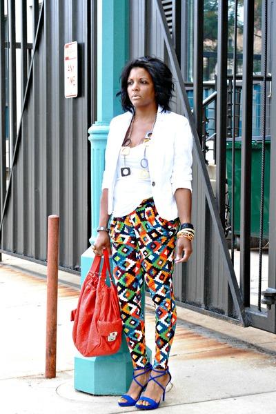 carrot orange print pants - white H&M blazer - blue Zara sandals