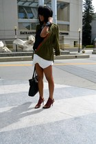army green Olive & Oak jacket - black monteau shirt - white Zara skirt
