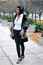 Rebecca Taylor heels - animal print vintage coat - free people jeans