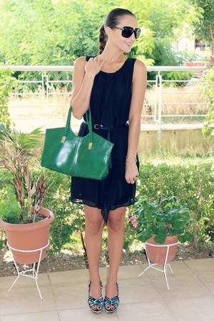 black frills H&M dress - forest green vintage leather bag