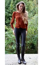 Topshop blouse - American Apparel pants - Bertie boots