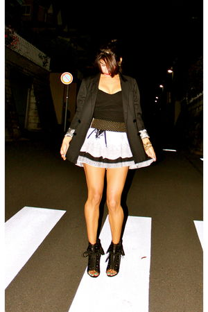black blazer - black H&M top - white skirt - black Alexander Wang shoes