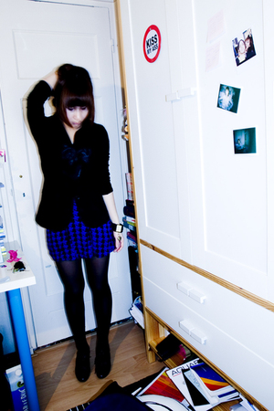 black Miss Selfridges blazer - blue Urban Outfitters skirt - black H&amp;M boots - b