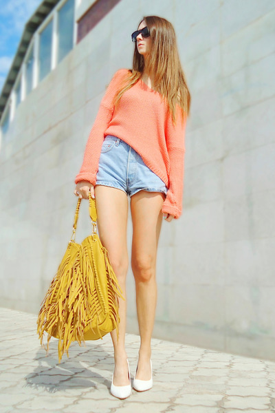 peach new look sweater - mustard fringed Mimi Boutique bag