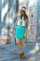 aquamarine vintage skirt - brown Shana boots - Topsop sunglasses