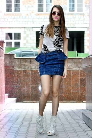 peplum denim Bershka skirt - round Topshop sunglasses - DIY t-shirt