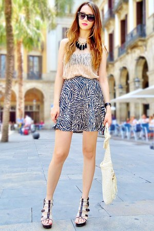 tan zebra print Topshop skirt - peach lace Topshop top