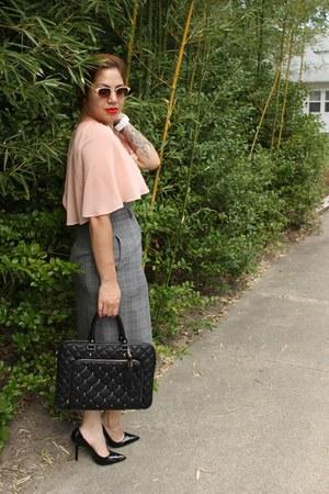DIY skirt - Aldo bag - Forever 21 top - BCBG pumps - Diesel watch