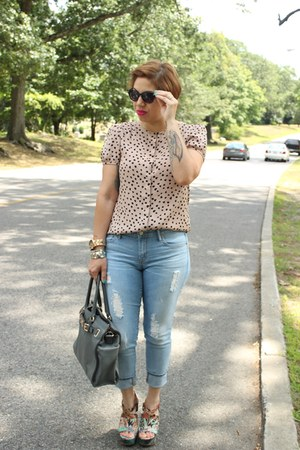 Loft shirt - Gap jeans - Michael Kors bag - Dollhouse wedges