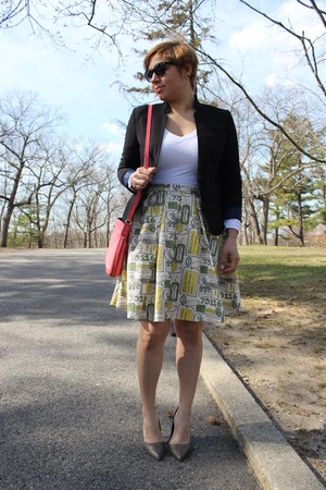 modcloth skirt - Forever 21 sweater - American Eagle blazer - kate spade bag