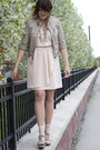 Pink-h-m-dress-beige-zara-jacket-beige-mia-shoes-silver-anne-taylor-loft-a