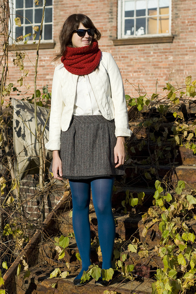handmade scarf - silence and noise jacket - Old Navy skirt - HUE tights