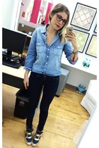navy dark denim H&M jeans - blue chambray Jcrew shirt - gray ASH sneakers