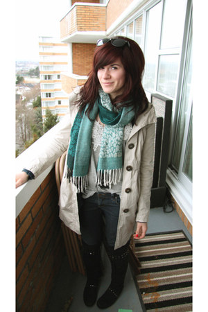 beige H&M jacket - teal thrifted scarf - heather gray f21 top