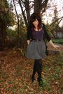 Black-urban-outfitters-cardigan-f21-skirt-purple-urban-top