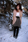 Light-pink-forever-21-cardigan-charcoal-gray-forever-21-skirt-black-h-m-be