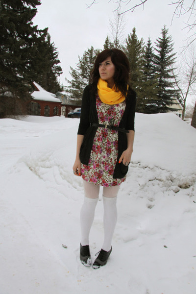 yellow scarf - hot pink dress - black cardigan
