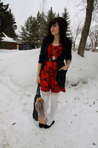 ruby red Urban Outfitters dress - white H&M tights - navy f21 cardigan