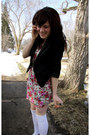 Hot-pink-dress-black-blazer-white-socks
