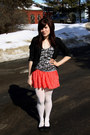 Black-blazer-white-tights-black-top-coral-skirt