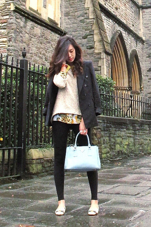 Salvatore Ferragamo shoes - French Connection leggings - Zara blazer - Prada bag