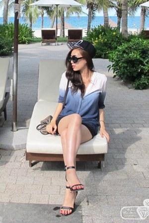 sky blue ombre Zara shirt - Guess bag - black satin BCBGeneration shorts