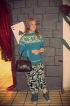 turquoise blue wool vintage sweater - dark brown leather vintage bag
