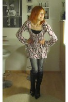 black second hand boots - bubble gum dress - jeans