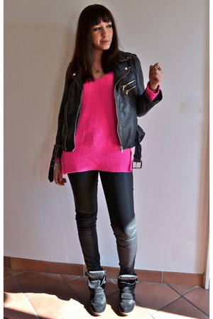 Zara pants - leather biker Leon&Harper jacket - Zara jumper