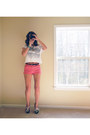 Steve-madden-shoes-salmon-coral-shorts-thrifted-vintage-shorts