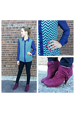 blue chevron blouse - magenta ankle boots - black skinny jeans