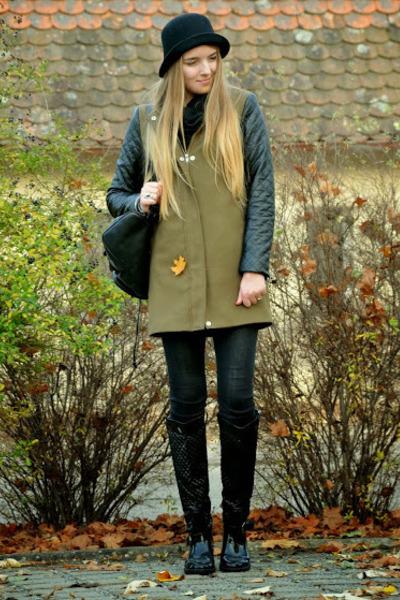 parka leather H&M jacket - black backpack vintage bag