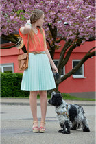 H&M skirt - coral c&a shirt - vintage bag