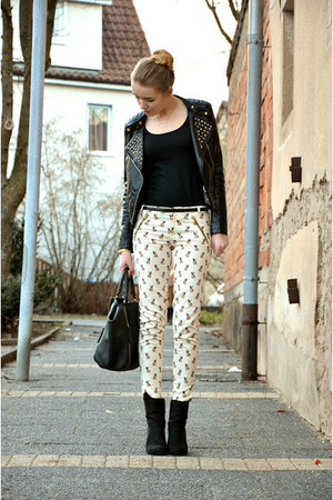 studded leather no name jacket - H&amp;M shoes - Hallhuber bag