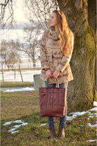 actec no name coat - brown H&M boots - oxblood Stefanel bag