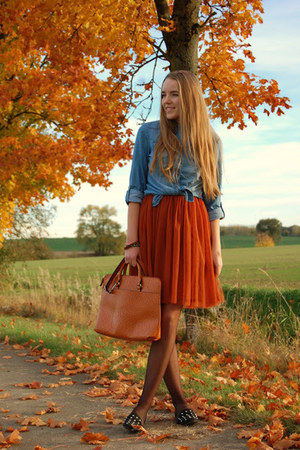 TK Maxx bag - denim studded Only shirt - studded bag no brand flats