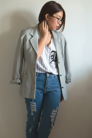 heather gray vintage vintage blazer - navy ripped On the Rocks jeans