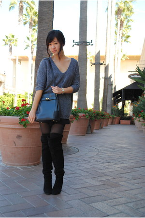 black thigh high Kimchi Blue boots - heather gray Express sweater