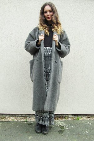 grey wool coat Marella coat - black boots Topshop boots - Ebay top