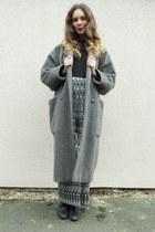 grey wool coat Marella coat - black boots Topshop boots - Ebay top