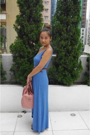 sky blue ribbed cotton H&M dress - pink studded bag no brand bag