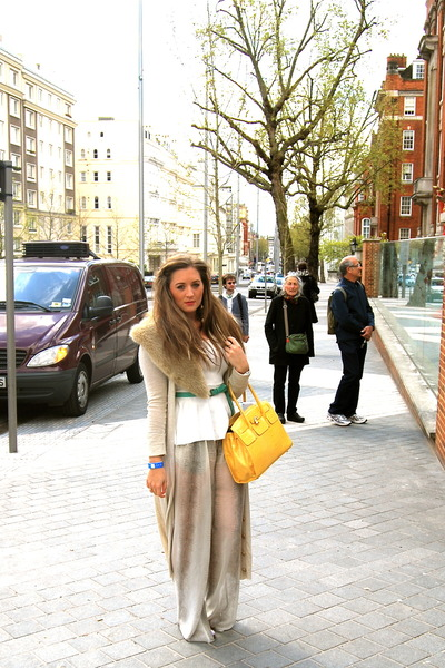 tote Aldo bag - chiffon Zara pants - tan leather Aldo heels
